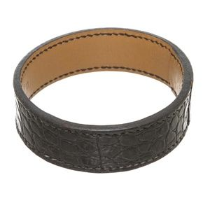 Hermes Black Brown Alligator Bangle Cuff Bracelet
